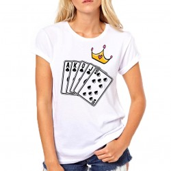 T-SHIRT DONNA RAGAZZA THE QUEEN DELLE CARTE