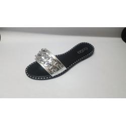 Scarpe donna fascia argentata n.40
