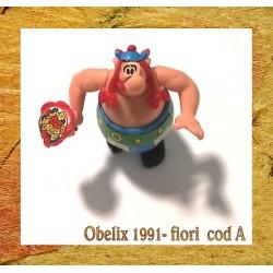 K91- 05 OBELIX CON MAZZO DI FIORI - componibile kinder senza cartina - CODA