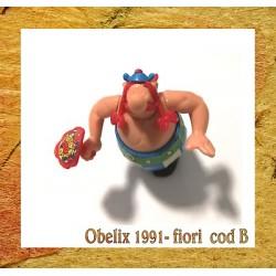 K91- 05 OBELIX CON MAZZO DI FIORI - componibile kinder senza cartina - CODB