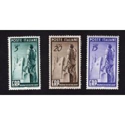 1949 REPUBBLICA ITALIANA SERIE ERP RICOSTRUZIONE EUROPA 3 VALORI - LINGUELLATI
