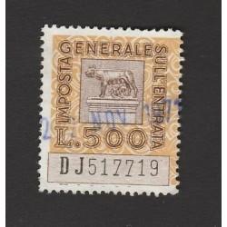 ITALIA IMPOSTA  GENERALE SULLENTRATA -  LIRE 500 - USATA (W)